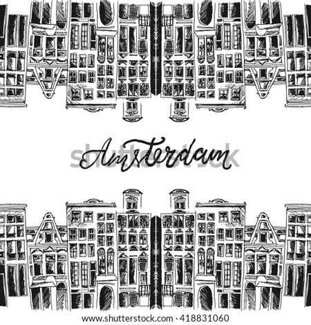 Hand paint old European buildings. Amsterdam city.Vector illustration