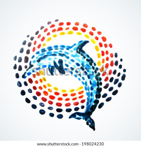 Hand-painted dolphin. Vector illustration. Hand painting. Illustration for greeting cards, invitations, and other printing projects. - stock vector