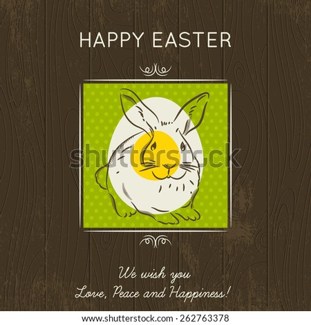 Hand painted easter egg in the green square. Brown wooden background and greetings inscription Happy Easter. Card for Easter. Decorative composition suitable for invitations, greeting cards - stock vector