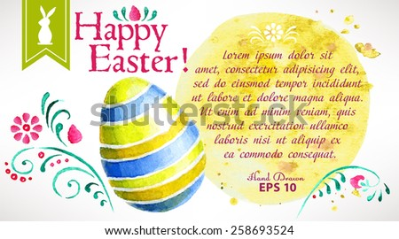 Hand-painted Easter greeting card with space for your text