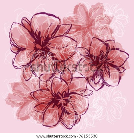 Hand Painted Flowers - stock vector
