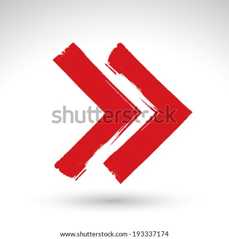 Hand-painted rewind sign isolated on white background, simple red rewind icon, created with real hand drawn ink brush scanned and vectorized. - stock vector