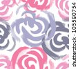 Hand painted roses seamless pattern in pink and grey tones. Vector illustration - stock vector