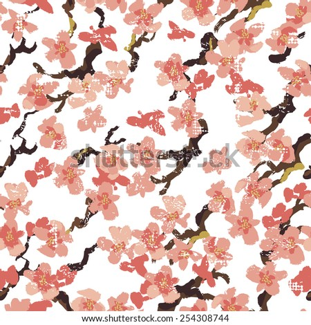 Hand painted  sakura seamless pattern on white background. All objects are conveniently grouped  and are easily editable.