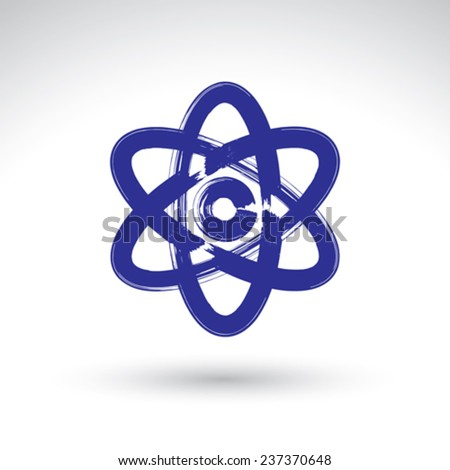 Hand-painted simple vector atomic model icon isolated on white background, atom symbol, created with real hand drawn ink brush scanned and vectorized.  - stock vector