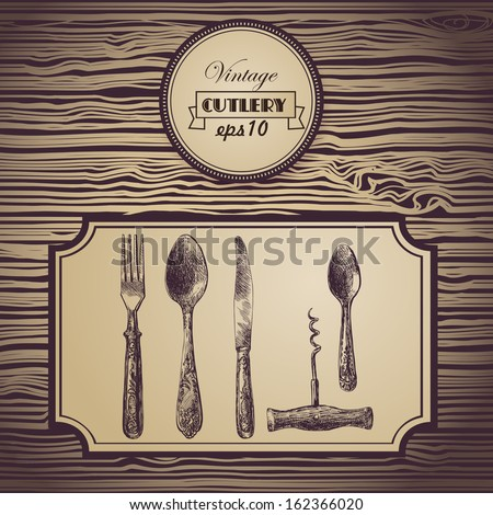 Hand painted tableware, vintage background - stock vector