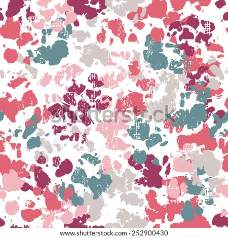Hand painted textured abstract motley  seamless pattern. All objects are conveniently grouped  and are easily editable. - stock vector