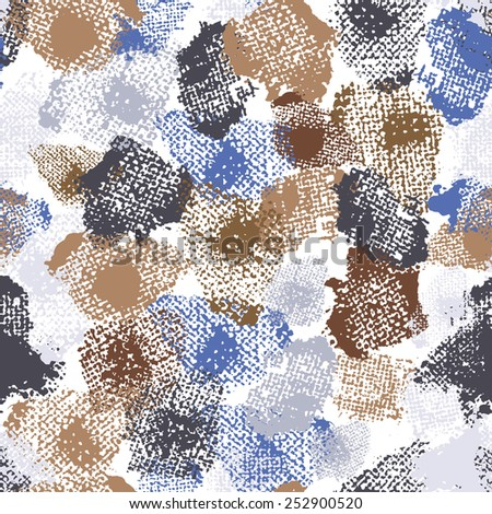 Hand painted textured abstract  seamless pattern in blue and brown. All objects are conveniently grouped  and are easily editable. - stock vector