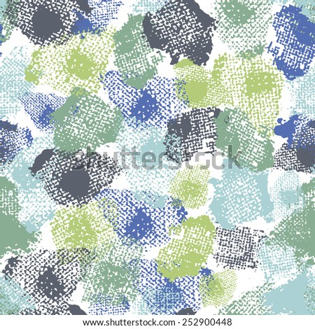 Hand painted textured abstract  shabby  fresh seamless pattern . All objects are conveniently grouped  and are easily editable. - stock vector