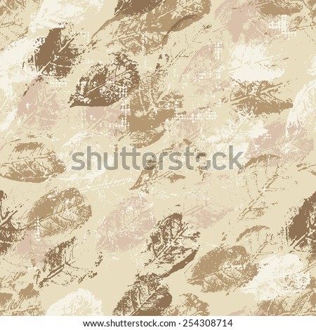Hand painted textured vintage seamless pattern . All objects are conveniently grouped  and are easily editable. - stock vector