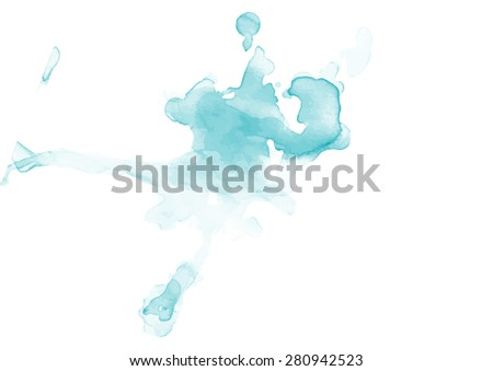 Hand painted traced blue splash.Vector illustration