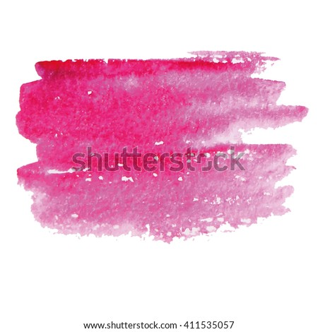 Hand painted vector pink watercolor background. Watercolor brush strokes.