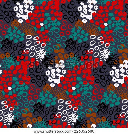 Hand painted vector seamless pattern with ethnic and tribal motifs, splatters and brushstrokes in multiple bright colors like white, black, green, red, brown for fall winter fashion - stock vector