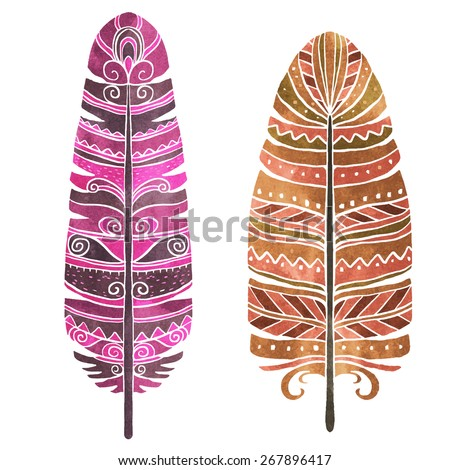 Hand painted watercolor bird feathers closeup isolated on white background set. Art scrapbook elements, vintage, tribal, sketch, hand drawn