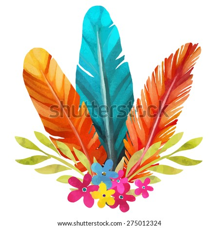Hand painted watercolor boho bouquet, feathers, flowers, leafs closeup isolated on white background set. Art rustic design element, hand drawn - stock vector