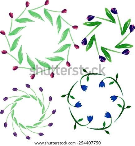 Hand-painted watercolor design elements. Floral motifs. Frame set. - stock vector
