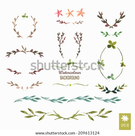 Hand-painted watercolor design elements. Floral motifs. Watercolor vintage floral trendy set of wreaths and laurels. Frame set - stock vector