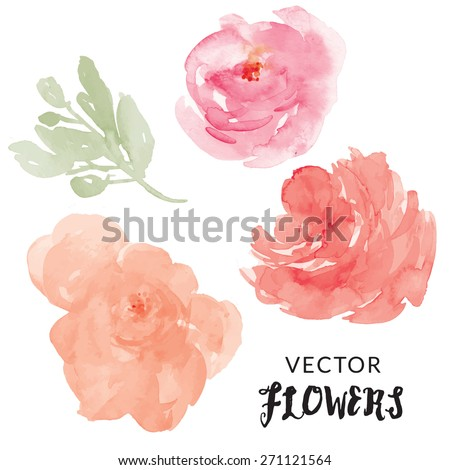 Hand Painted Watercolor Flower Vector. Vector Watercolor Flowers. Vector Watercolour Flowers - stock vector