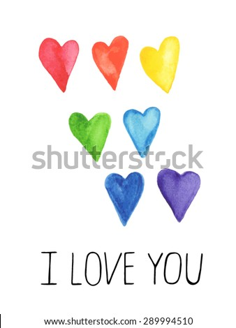 Hand-painted watercolor hearts. Cute colorful heart shaped graphic design elements for your's design. Isolated on white. Vector illustration. - stock vector