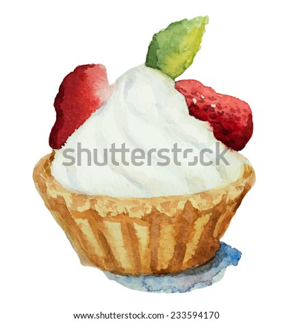 Hand painted watercolor  piece of cake. with strawberries. Vector illustration. - stock vector