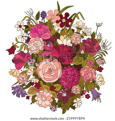 Hand painted watercolor vintage bouquet, flowers and leaves isolated on a white background. Art design element - stock vector