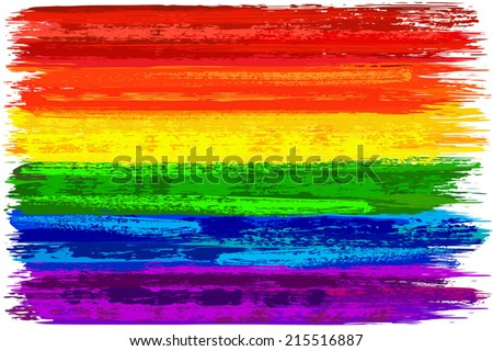 Hand painted with brush gay pride flag made in vector