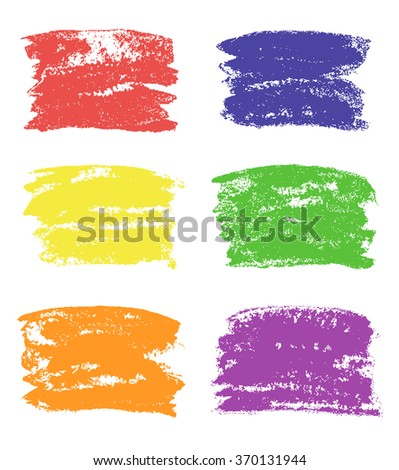 Hand painting square design elements on white. Set of colored grunge copy space. Vector colorful hand drawing texture, templates, frames, background.
