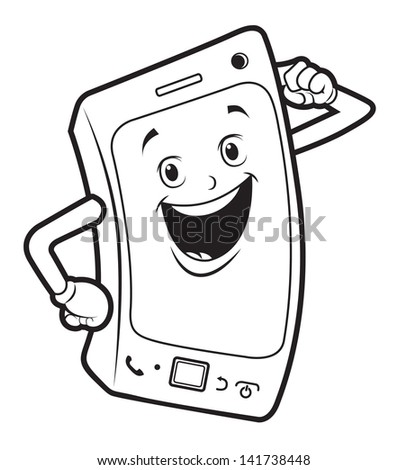 hand phone black white - stock vector