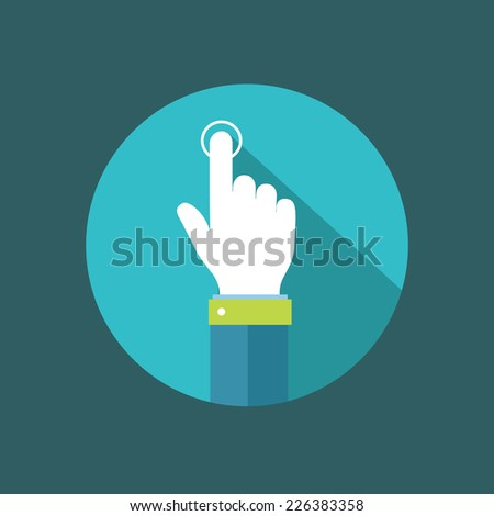 Hand pointer clicking on button flat illustration.Eps8 - stock vector