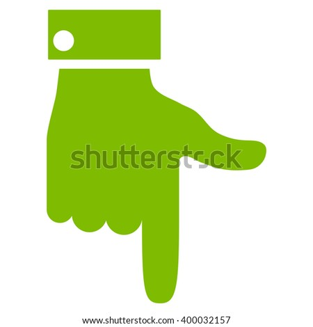 Hand Pointer Down vector icon. Style is flat icon symbol, eco green color, white background.