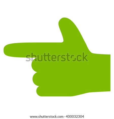 Hand Pointer Left vector icon. Style is flat icon symbol, eco green color, white background. - stock vector