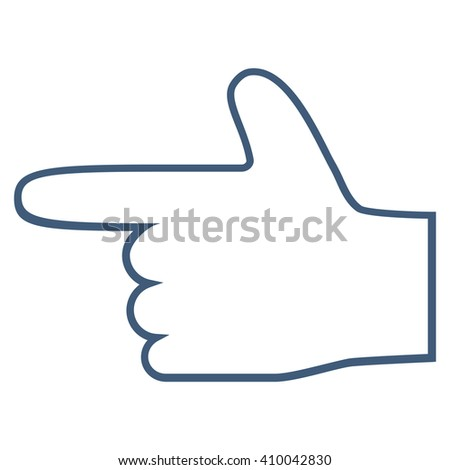 Hand Pointer Left vector icon. Style is outline icon symbol, blue color, white background. - stock vector
