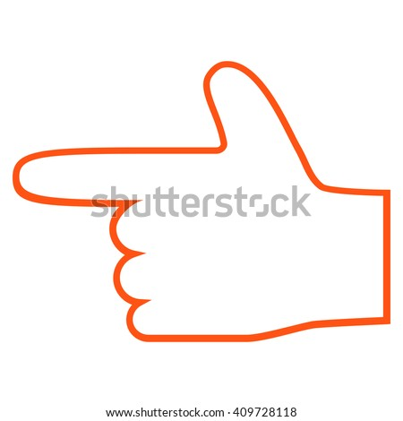 Hand Pointer Left vector icon. Style is outline icon symbol, orange color, white background. - stock vector