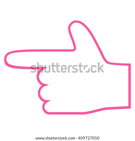 Hand Pointer Left vector icon. Style is stroke icon symbol, pink color, white background. - stock vector