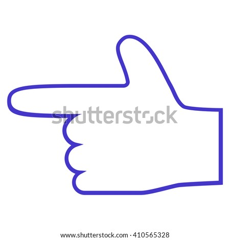 Hand Pointer Left vector icon. Style is stroke icon symbol, violet color, white background. - stock vector