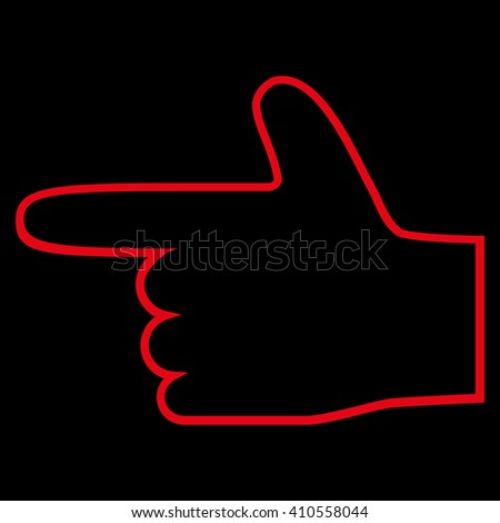 Hand Pointer Left vector icon. Style is thin line icon symbol, red color, black background. - stock vector