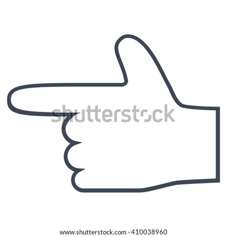 Hand Pointer Left vector icon. Style is thin line icon symbol, smooth blue color, white background. - stock vector