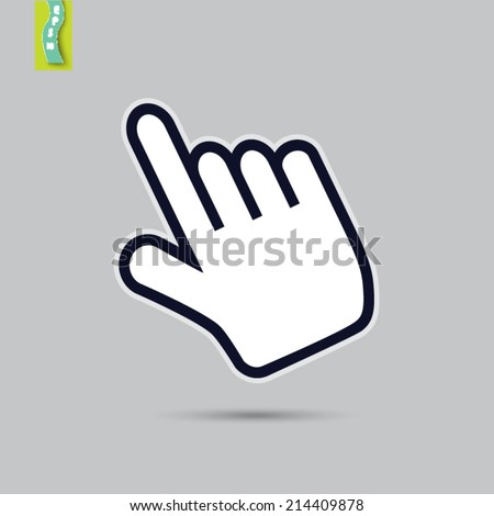 hand pointer on a gray background - stock vector