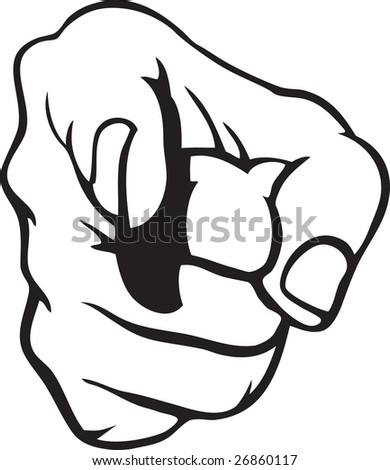 Hand pointing 5 - stock vector