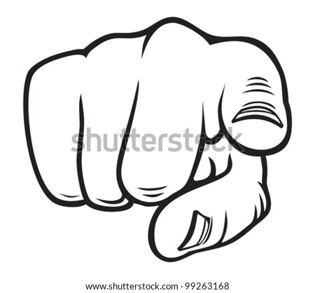 Hand pointing - stock vector