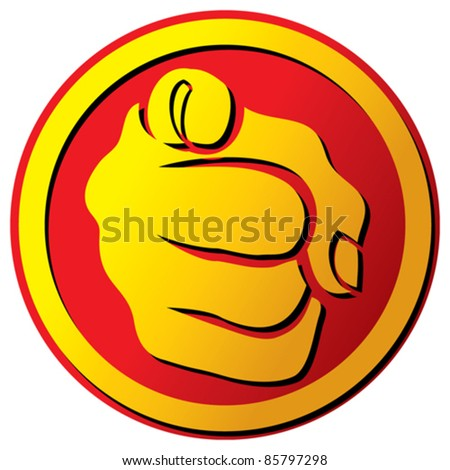 Hand pointing button  - stock vector