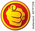 Hand pointing button (finger pointing icon) - stock photo