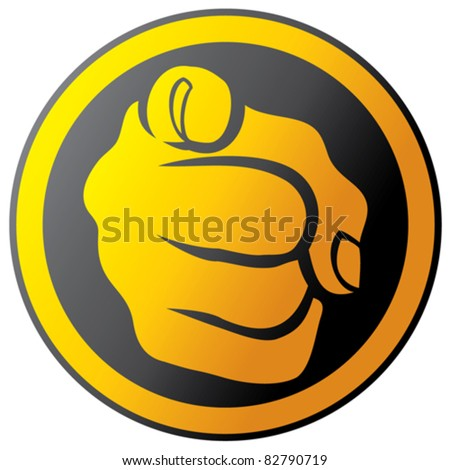 Hand pointing button (icon) - stock vector