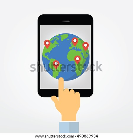 hand pointing on tablet  display  with world map - gps navigation sytem illustration