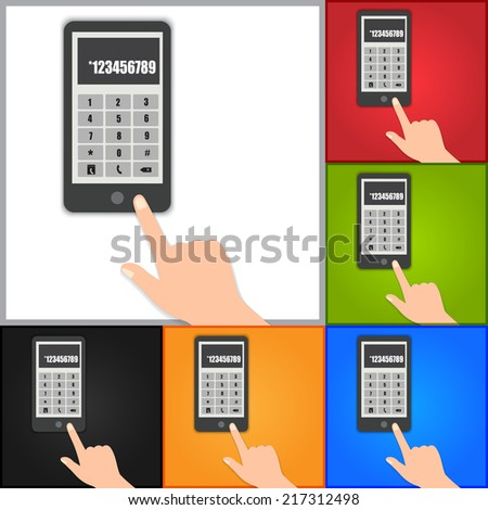 Hand Pointing Smart phone Touch/Numeric Keypad Icon. Vector Illustration. - stock vector
