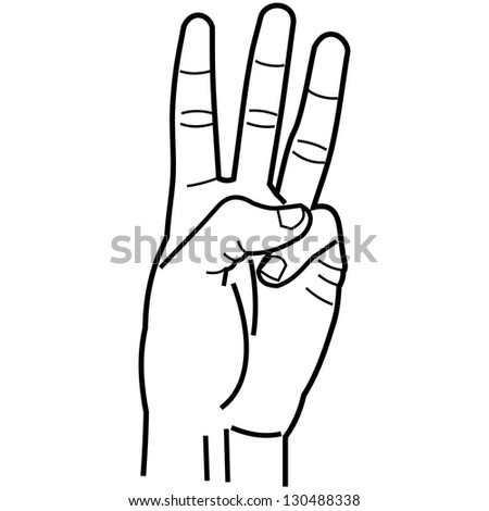 hand pointing three fingers linear style