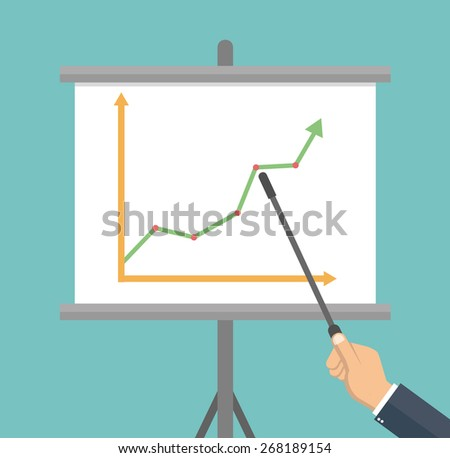 Hand pointing to a whiteboard - Business presentation concept in flat style - stock vector