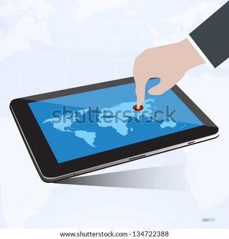 Hand press goal pointer on tablet screen with world map,success concept,vector eps10