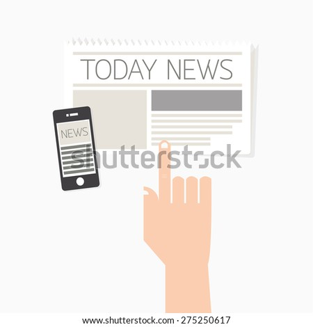 Hand press news for social media concept