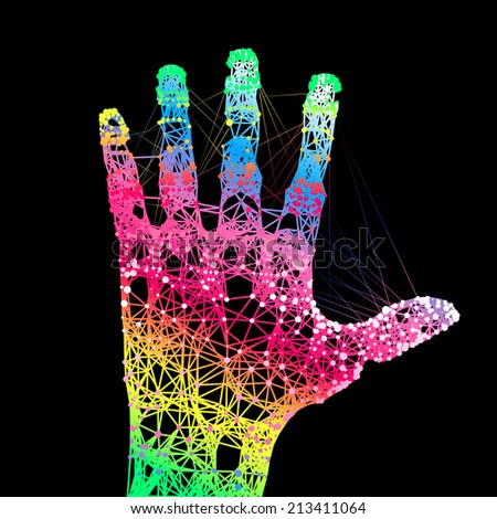 Hand print. Colors hand up illustration.  - stock vector